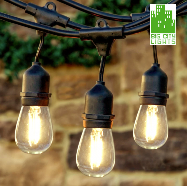 vintage LED STRING LIGHT EDISON BULB CANADA BBQ Backyard outdoor waterproof industrial Toronto rental restaurant hotel festoon